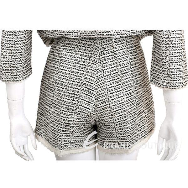 SCERVINO 米黑色織紋流蘇滾邊短褲 1620320-37