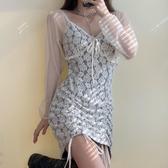 蕾絲洋裝連身裙設計感小眾夏季復古V領綁帶網紗拼接蕾絲鉤花抽繩仙女裙 衣間迷你屋