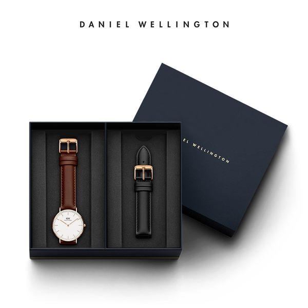 Daniel Wellington DW 禮盒 36mm棕色真皮錶+18mm爵士黑真皮錶帶