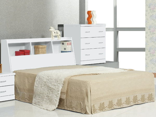 床架 床頭箱.床頭片 CV-177-3 青少年全白5尺書架型床頭 (不含床底)【大眾家居舘】