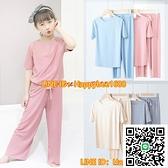 童裝女童睡衣女童家居服小孩外穿短袖薄款冰絲空調服夏季三件套裝【happybee】