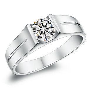925銀鍍白金鑽戒子 純銀男戒指