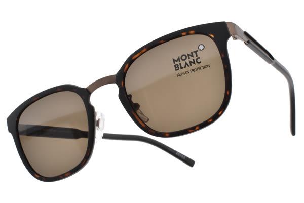 MONTBLANC 太陽眼鏡 MB603SF 52E (琥珀棕) 百搭精品紳士款 # 金橘眼鏡