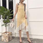 夏季新款ins不規則重工手工交叉縫線拼接雪紡吊帶可調節連衣裙潮