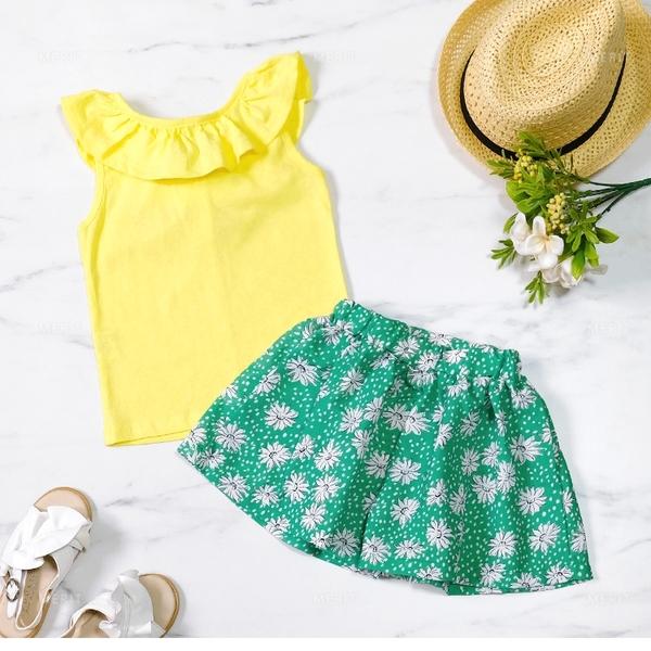 活潑亮黃綁帶兩件式套裝 春夏童裝 女童 女童短裙 女童褲裙 女童上衣 女童套裝