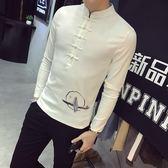 盤扣t恤男長袖社會精神小伙修身打底衫