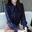 (促銷全場九折)蝴蝶結襯衫女早秋新款氣質立領波點系帶喇叭袖雪紡衫洋氣上衣