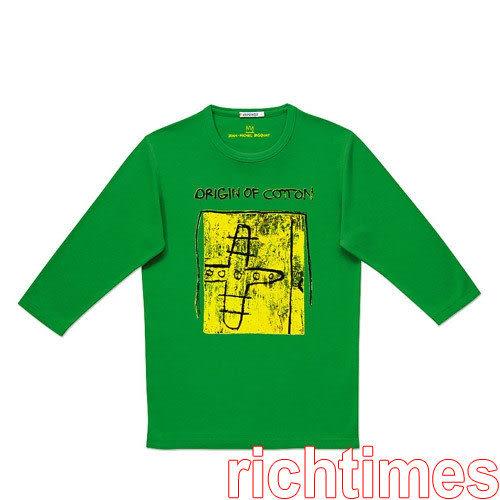 黃綠七分袖T恤~L   UQ3A2123