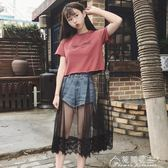 印花洋裝女夏裝新款韓版百搭小心機網紗蕾絲拼接短袖T恤裙學生花間公主