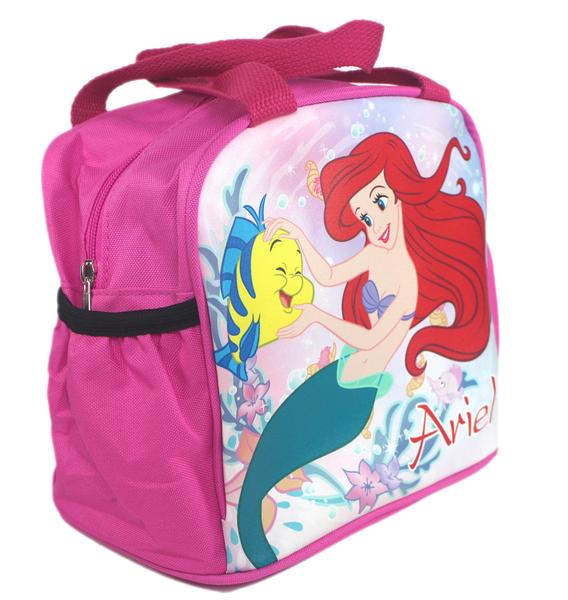 【卡漫城】 小美人魚 便當袋 單層桃紅 摸比目魚 ㊣版 手提袋 拉鍊式 餐袋 Ariel 愛麗兒 Mermaid 公主