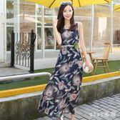 新款海邊度假沙灘長裙女波西米亞無袖印花雪紡洋裝 js4903『miss洛羽』