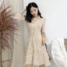 女裝秋新款韓版修身顯瘦繫帶娃娃領洋裝氣質收腰喇叭袖a字短裙
