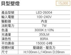 【燈王的店】LED 7W貝型壁燈(LED26004) (限裝潢板用)