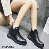 PAPORA金屬風側拉鍊短靴【KW4338】黑(偏小)(零碼)
