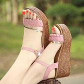高跟涼鞋 女坡跟厚底休閒鞋【多多鞋包店】z271