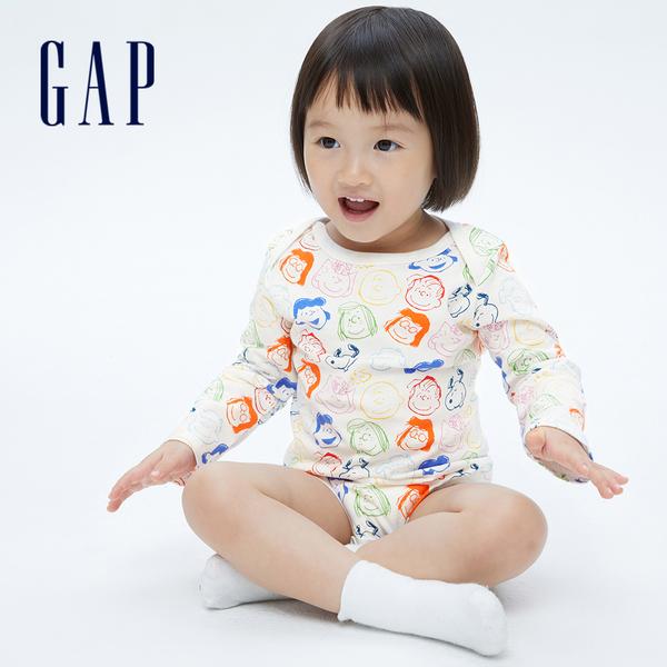 Gap嬰兒 Gap x Snoopy 史努比系列純棉包屁衣 740278-白色印花
