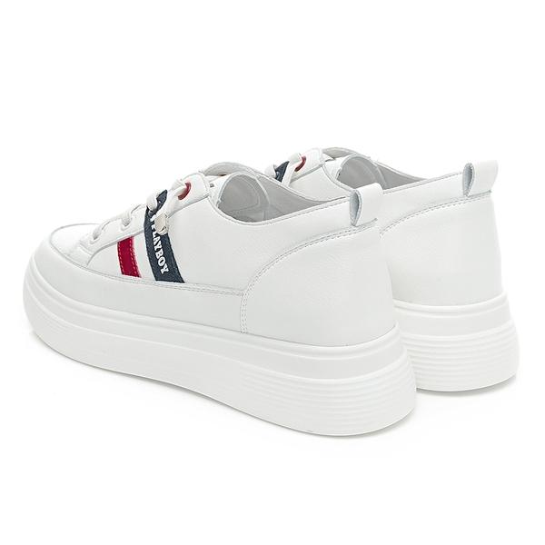 PLAYBOY 經典撞色真皮輕量增高休閒鞋-白紅(Y6805)