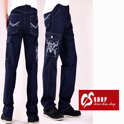CS衣舖 高彈力 造型刷白 立體刺繡 中直筒 牛仔工作褲 5257