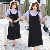★韓美姬★中大尺碼~雙肩帶後背交叉兩件式短袖套裝連衣裙(XL~4XL)
