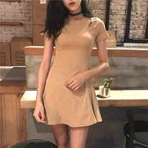 連身裙 2019春新款修身顯瘦裙子性感短裙圓領短袖連衣裙氣質A字裙女裝