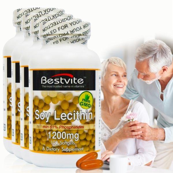 【美國BestVite】必賜力高濃縮卵磷脂膠囊4瓶組 (100顆*4瓶)