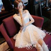 2018夏裝新款女裝裙子禮服高腰一字肩露肩白色蓬蓬蕾絲連衣裙短裙