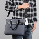 公事包/電腦包 男士手提包橫款男商務公文包單肩斜挎男包男式背包文件包手拎包
