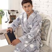 男士內睡衣新品秋冬保暖宮廷復古印花 法蘭絨男士睡袍內睡衣浴衣浴袍 加厚加大加肥