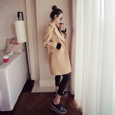 毛呢大衣-中長款時尚翻領寬鬆顯瘦女風衣外套2色73ki20[巴黎精品]