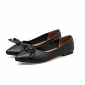 黑色/39 單鞋女尖頭淺口平底鞋蝴蝶結平跟低幫四季鞋休閒鞋女C0114