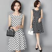 洋裝 韓版氣質香風收腰波點a字連身裙 超值價