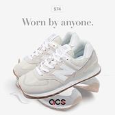 New Balance 休閒鞋 574 灰 白 膠底 復古 女鞋 運動鞋 NB 經典款【ACS】 WL574PC2B