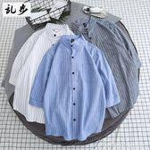 夏季日繫學生立領七分袖港風襯衫條紋五分中袖襯衣男休閒長袖寸衫   蜜拉貝爾