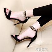 小清新露趾涼鞋女夏細跟高跟鞋性感黑色一字帶防水臺女鞋