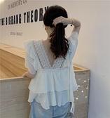 大碼女裝 荷葉邊v領蕾絲衫女上衣 娃娃裝短袖T恤雪紡衫