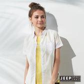 【JEEP】女裝 甜美女孩滿版彩色點點短袖襯衫 (白色)