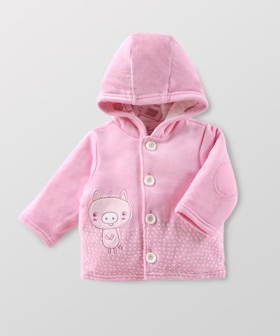 Hallmark Babies 女嬰兒秋冬加厚連帽長袖夾克寶寶長袖外套 HD3-E01-08-BG-MR