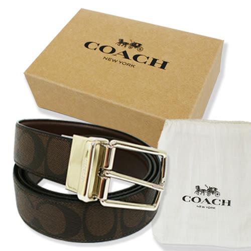 【COACH】經典大C LOGO PVC皮帶禮盒(深咖)