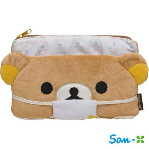 懶熊款【日本進口】San-X 拉拉熊 口罩收納包 化妝包 面紙包 懶懶熊 Rilakkuma - 681568