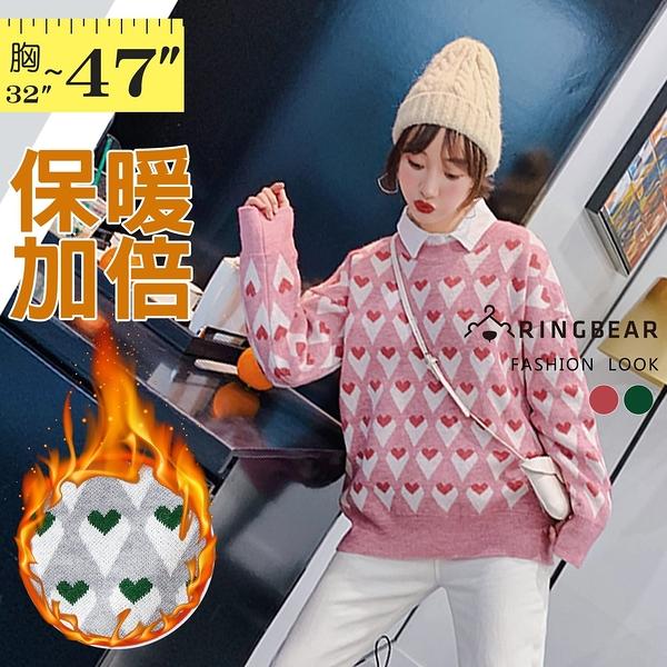 針織上衣--休閒修身顯瘦活潑可愛滿版撞色愛心長袖針織/毛衣(紅.綠M-3L)-X397眼圈熊中大尺碼