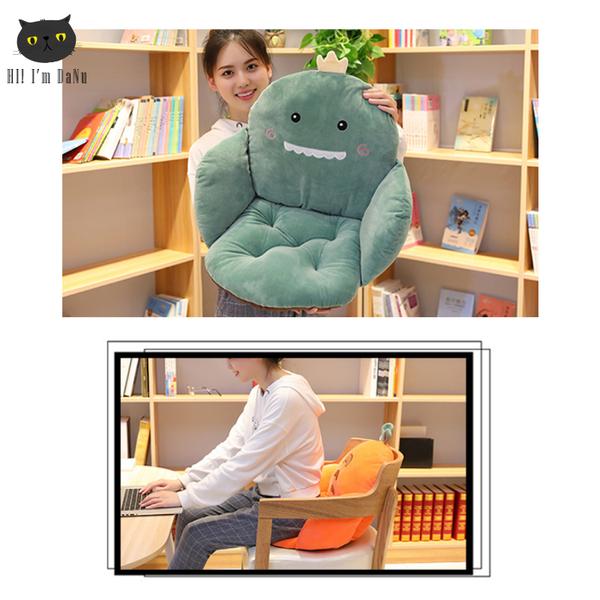 創意恐龍仙人掌學生宿舍坐墊 靠墊 一體椅墊 連體靠背辦公室座墊【Z91102】