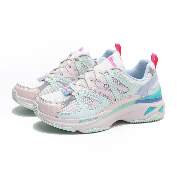 SKECHERS 休閒鞋 ENERGY RACER-INNOVATIVE 白 粉綠紫 網布拼接 老爹鞋 女 (布魯克林) 149371LPMT
