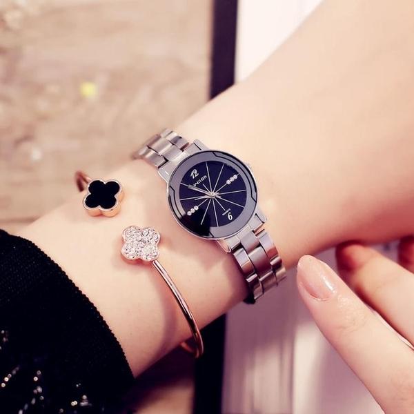 全館83折 簡約時尚女士鋼帶時裝手錶學生表防水石英表學院風