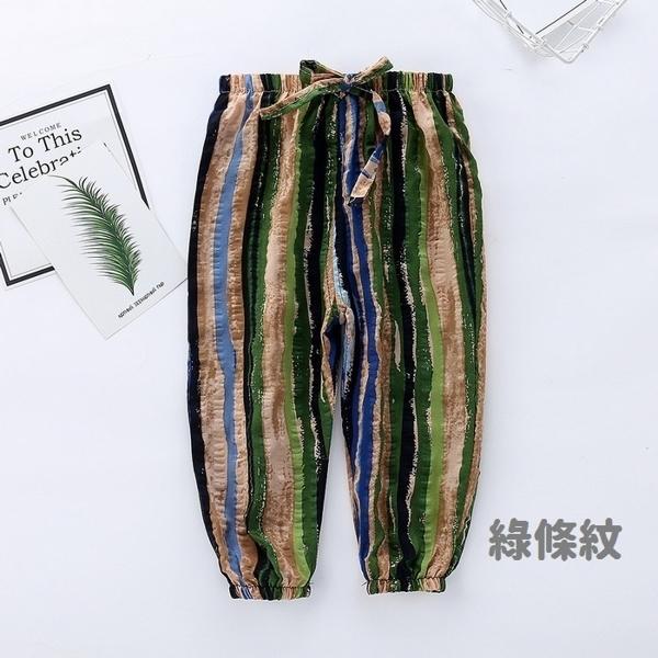 中大童燈籠褲 透氣棉紗褲 繽紛卡通 防蚊褲 鬆緊綁帶 寶寶長褲 HY1302