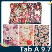 三星 Tab A 9.7 P550/555 卡通彩繪保護套 十字紋側翻皮套 可愛塗鴉 超薄簡約 支架 磁扣 平板套 保護殼