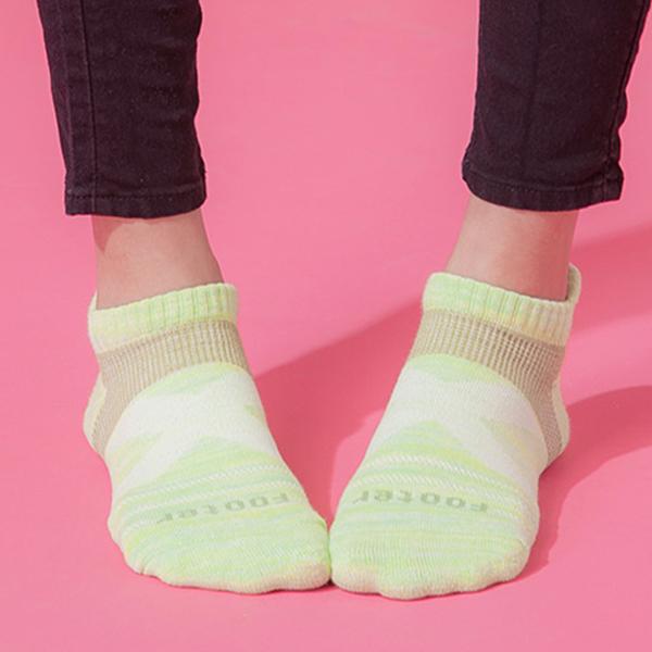 Footer 除臭襪 繽紛花紗輕壓力足弓船短襪(女)T108M-綠 22-25cm