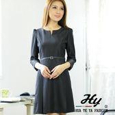 【大尺碼-HTY-303F-E】華特雅-高貴優雅合身版七分袖女洋裝(晶鑽黑)