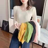 【藍色巴黎 】 純色V領修身長袖針織上衣 針織衫 毛衣《8色》【28811】