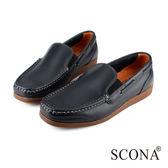 SCONA 全真皮 經典美式手工帆船鞋 藍色 1233-2