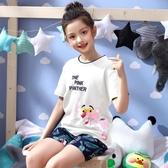 睡衣 夏季女童睡衣純棉短袖薄款卡通兒童中大童小女孩家居服夏天套裝 小宅女